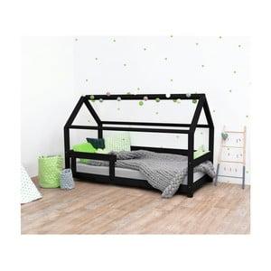 Černá dětská postel s bočnicí ze smrkového dřeva Benlemi Tery, 90 x 180 cm