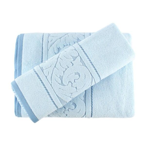 Sultan kék kéztörlő és fürdőlepedő szett - Confetti