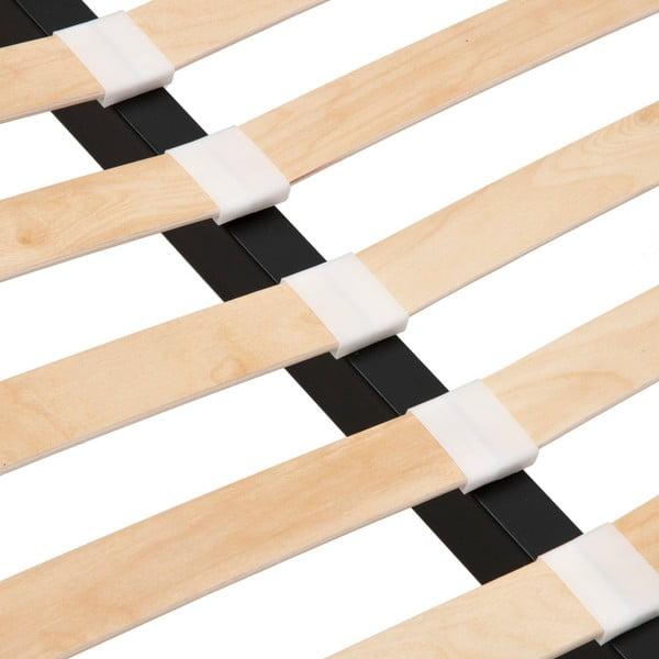 Mae púderrózsaszín kétszemélyes ágy fekete lábakkal, 140 x 200 cm - Vivonita