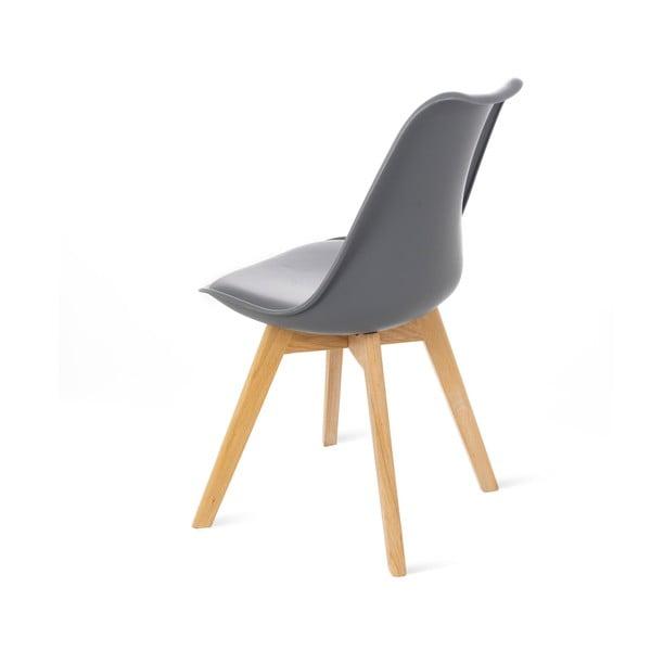 Retro szürke szék, bükkfa lábakkal - loomi.design