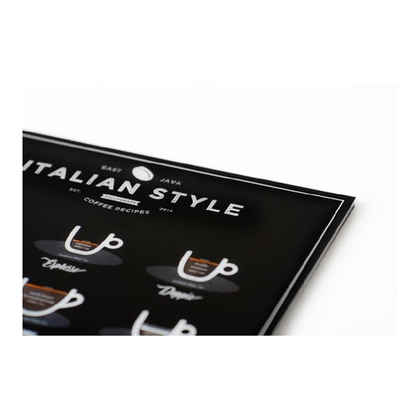 Italian Style Coffee fekete poszter, 21 x 30 cm - Follygraph