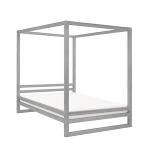 Šedá dřevěná dvoulůžková postel Benlemi Baldee, 190x160cm