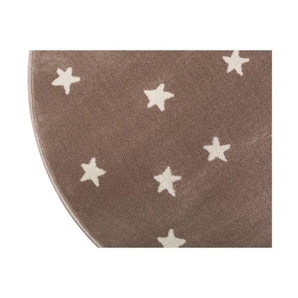 Beige barna, kerek szőnyeg csillag mintával, 100 x 100 cm - KICOTI