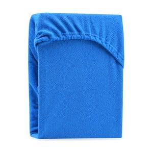 Ruby Blue kék kétszemélyes gumis lepedő, 200-220 x 200 cm - AmeliaHome