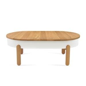 Batea L természetes hatású-fehér tölgyfa dohányzóasztal tálcával - Woodendot