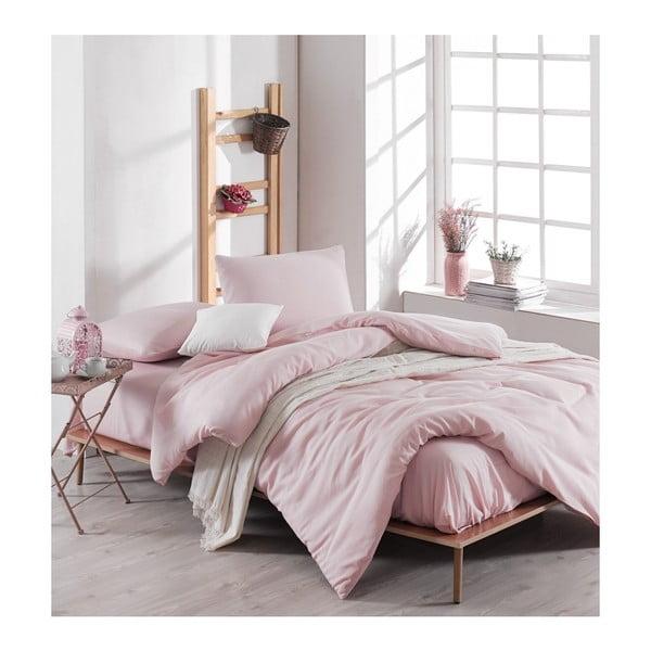 Meruna világos rózsaszín kétszemélyes ágyneműhuzat lepedővel, 200 x 220 cm