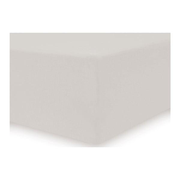 Amber Collection krémszínű pamut gumis lepedő, 220-240 x 200 cm - DecoKing
