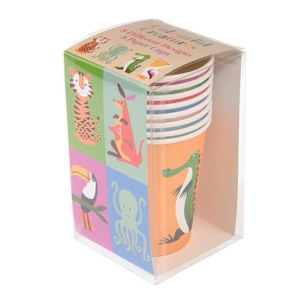 Colourful Creatures 8 db-os papírpohár készlet, 250 ml - Rex London