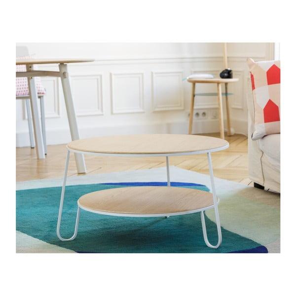 Anatole tárolóasztal fehér fém konstrukcióval, ⌀ 40 cm - HARTÔ