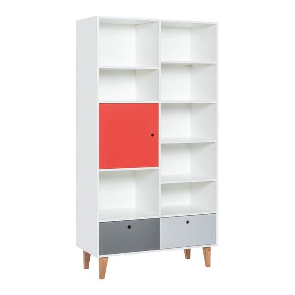 Concept tölgyfa könyvszekrény piros ajtóval, 105 x 215 cm - Vox