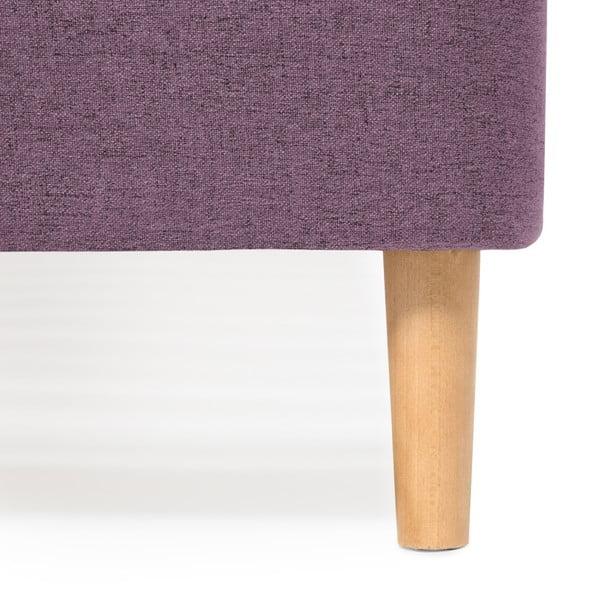 Mae Queen Size kétszemélyes lila ágy fa lábakkal, 160 x 200 cm - Vivonita