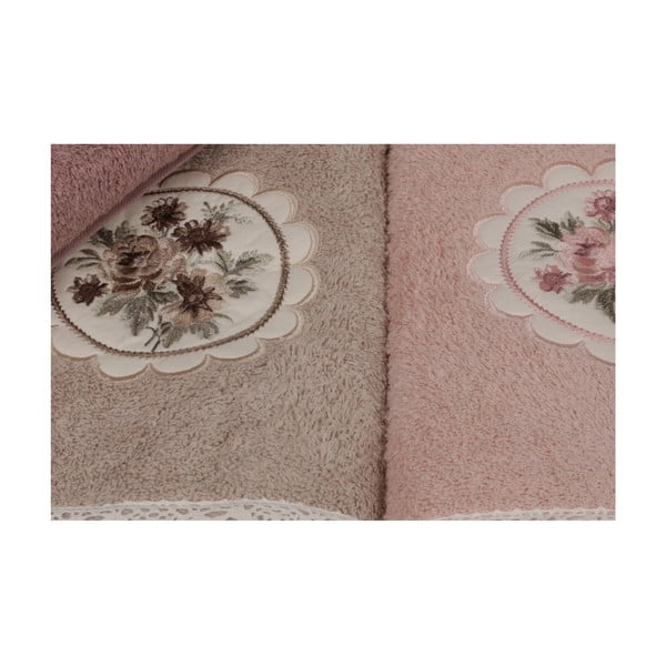 Vintage Violet pink kéztörlő szett, 6 darabos