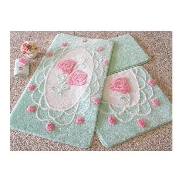 Knit Knot 3 db-os zöld fürdőszobai kilépő szett rózsa motívummal
