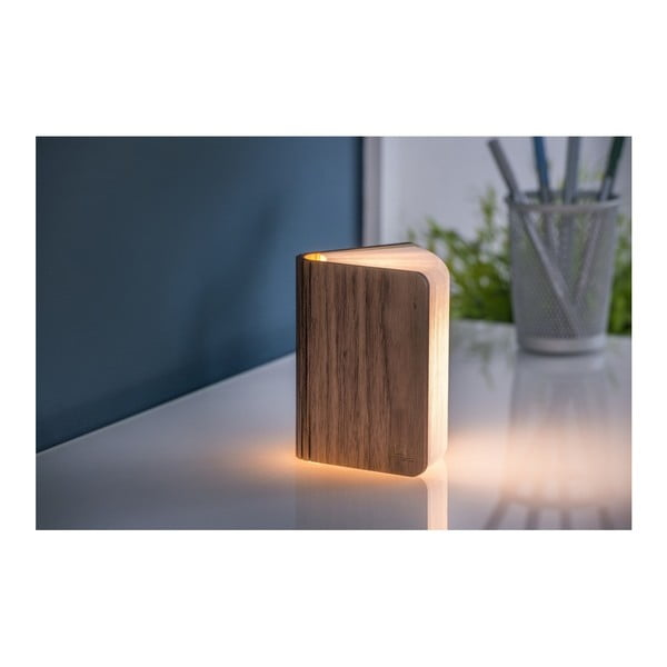 Mini sötétbarna könyvalakú LED asztali lámpa, diófából - Gingko