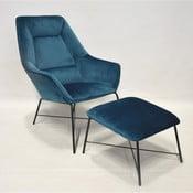 Adele kék bársony fotel, lábtartóval - RGE