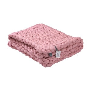Rózsaszín kézzel kötött pléd, merinói gyapjúból, 180 x 140 cm - WeLoveBeds