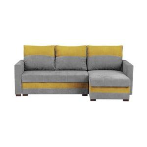 Šedo-žlutá třímístná variabilní rohová rozkládací pohovka s úložným prostorem Melart Frida