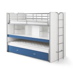 Bonny fehér-kék emeletes ágy polcokkal, 220 x 100 cm - Vipack