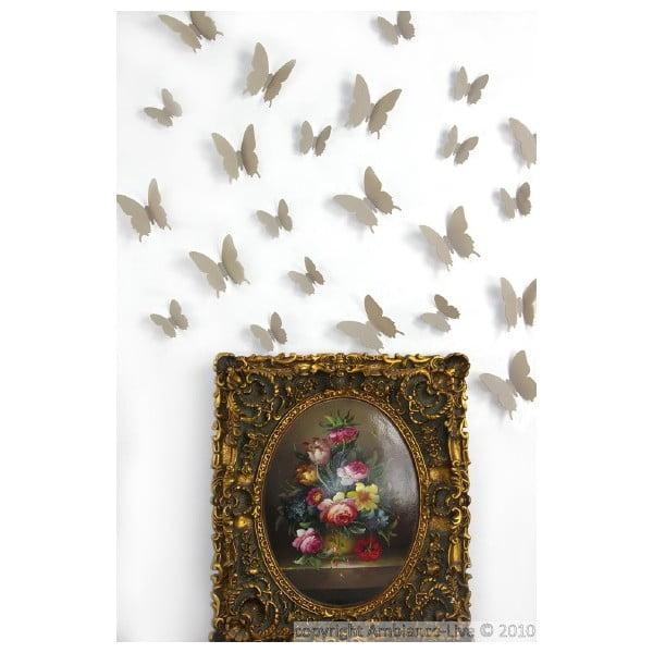 Butterflies világosbarna 3D hatású 12 darabos falmatrica szett - Ambiance