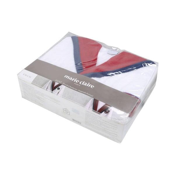 Golfie fehér fürdőköpeny piros-kék díszítéssel, méret: XL