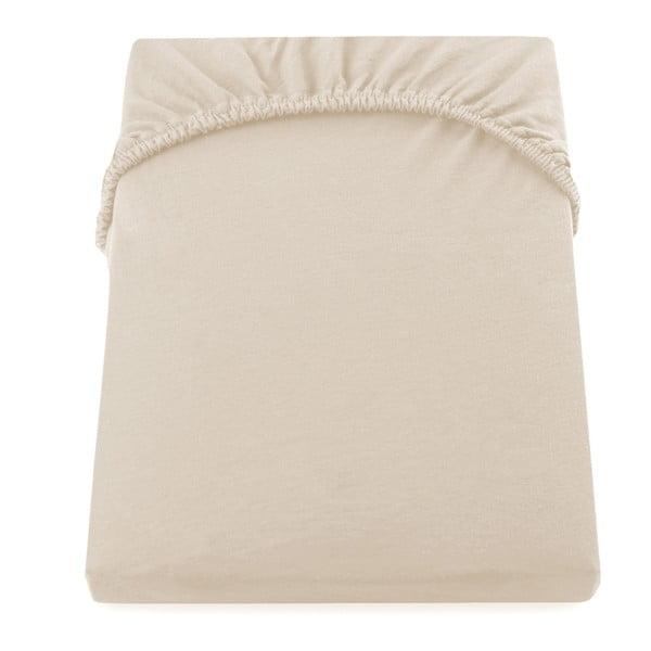 Amber Collection bézs pamut gumis lepedő, 220-240 x 200 cm - DecoKing