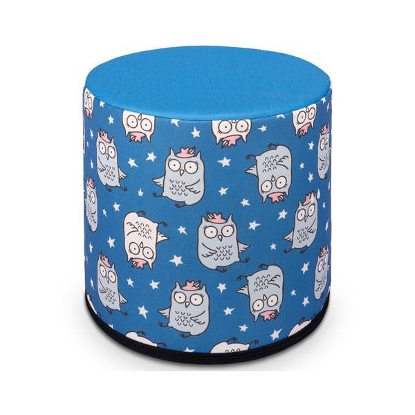 Kisbagoly mintás kék gyerek puff, 40 x 40 cm - KICOTI