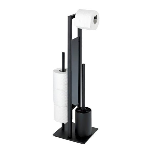 Rivalta fekete WC-kefe WC-papírtartó állvánnyal - Wenko