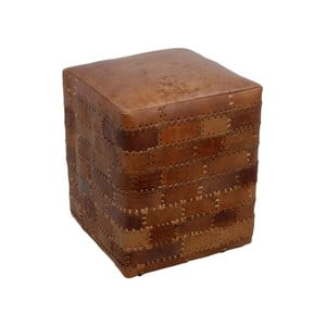 Patchwork konyakbarna puff, 35 x 35 x 45 cm - HSM collection