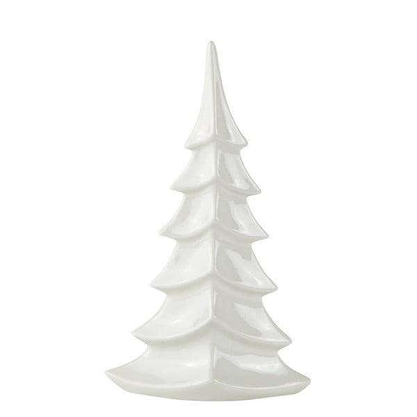 Dekorációs karácsonyfa fehér kerámiából, magasság 27,5 cm - KJ Collection