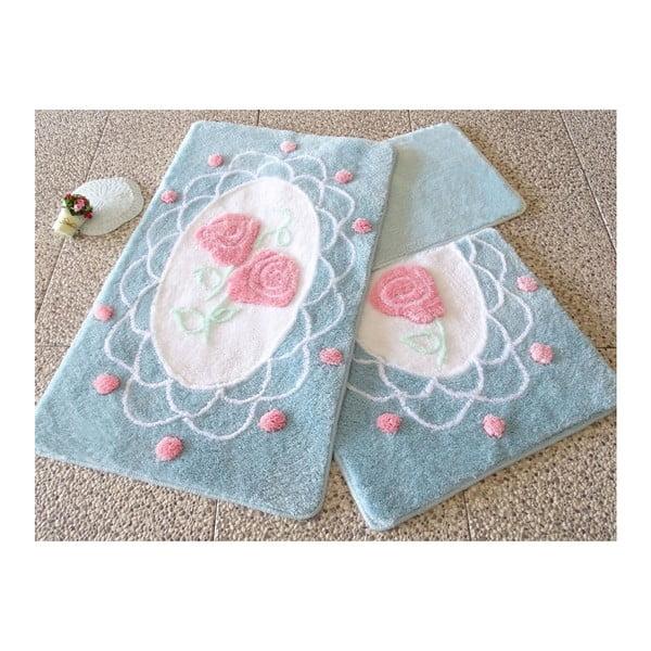 Knit Knot 3 db-os kék fürdőszobaszőnyeg szett, rózsa motívummal