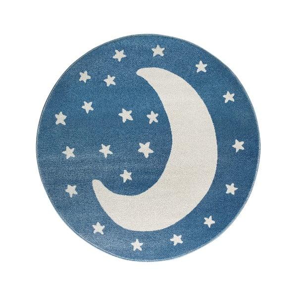Azure Moon kék, kerek szőnyeg hold mintával, 80 x 80 cm - KICOTI