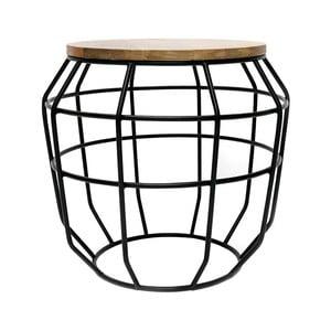 Pixel fekete tárolóasztal mangófa asztallappal, Ø 51 cm - LABEL51