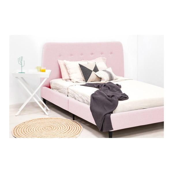 Mae King Size kétszemélyes púder rózsaszín ágy fekete lábakkal, 180 x 200 cm - Vivonita