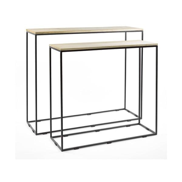 Rectangle 2 db-os konzolasztal szett, mangófa asztallappal - Simla