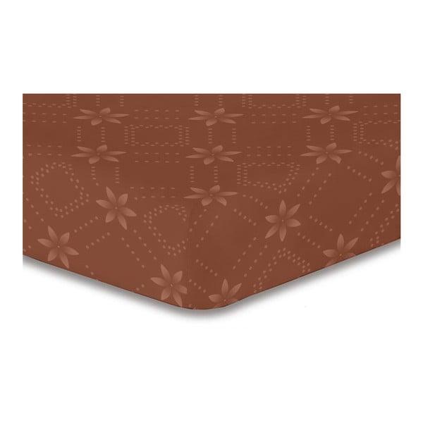 Hypnosis Snowynight barna mintás gumis lepedő, 100 x 200 cm - DecoKing