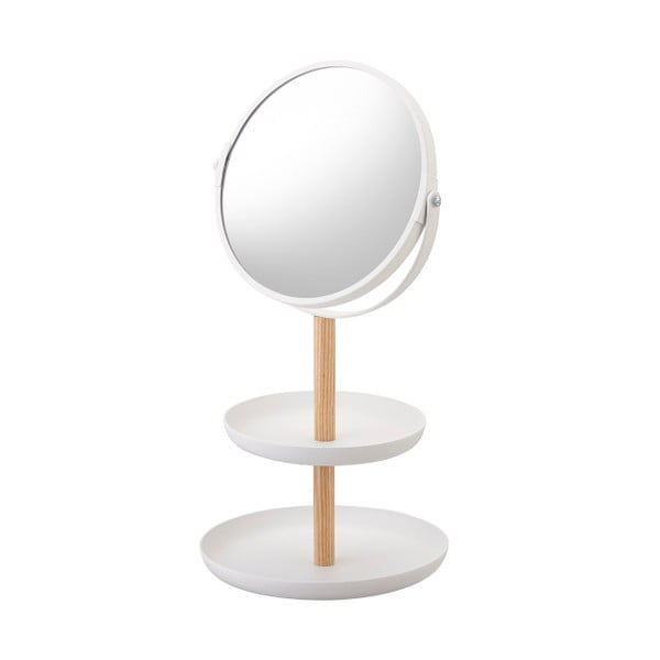 Tosca fehér tükör kis tálcákkal és bükkfa részletekkel - YAMAZAKI