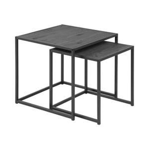 Seaford 2 db-os fekete dohányzóasztal szett - Actona