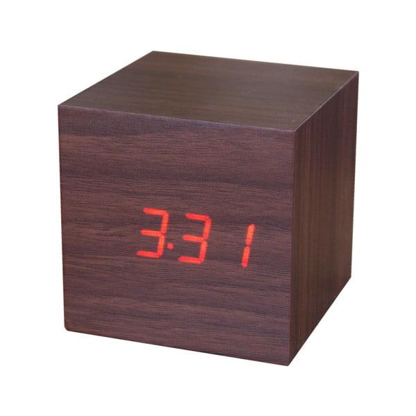 Cube Click Clock barna diófamintás ébresztőóra piros LED kijelzővel - Gingko