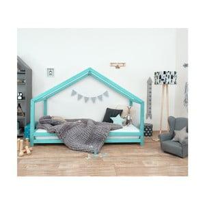Tyrkysová dětská postel z lakovaného smrkového dřeva Benlemi Sidy, 80 x 180 cm
