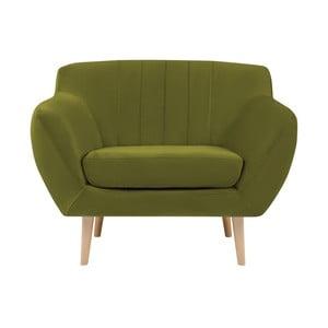 Zelené křeslo se světlými nohami Mazzini Sofas Sardaigne
