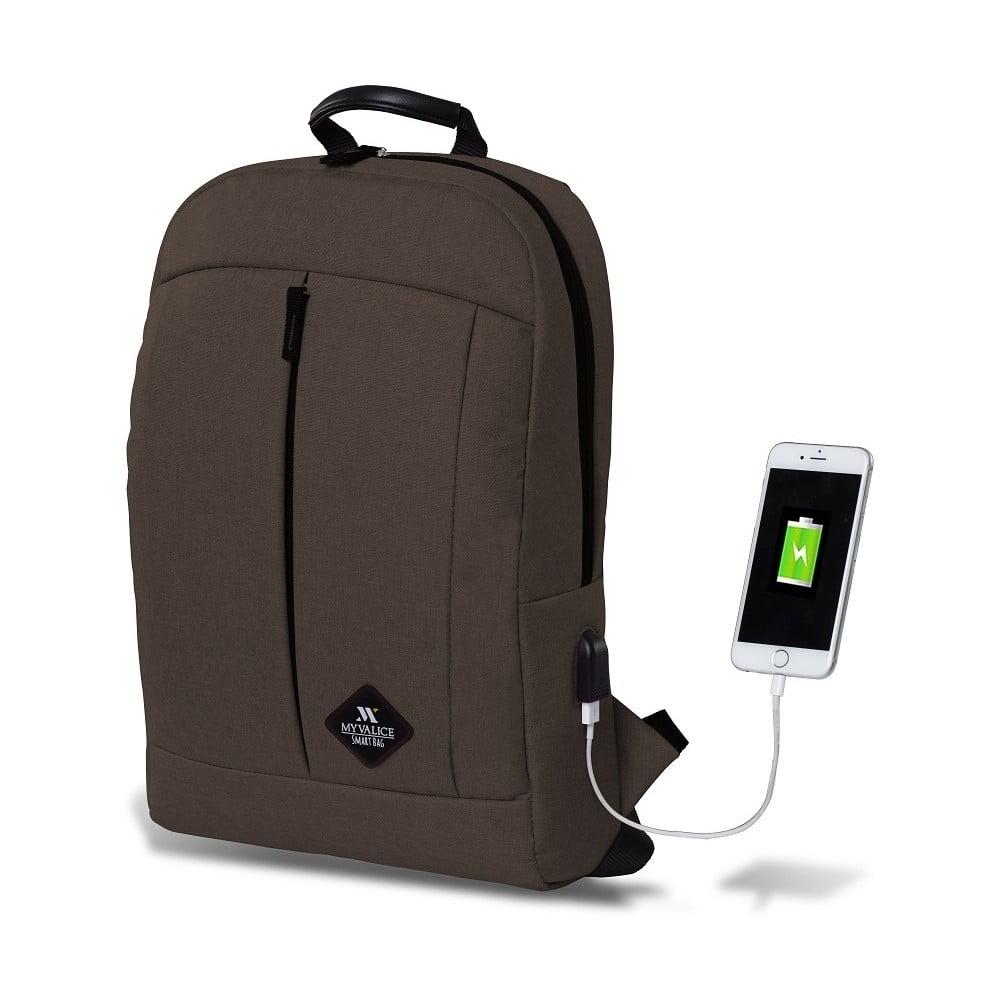 GALAXY Smart Bag sötétbarna hátizsák USB csatlakozóval - My Valice ... fa811b385f
