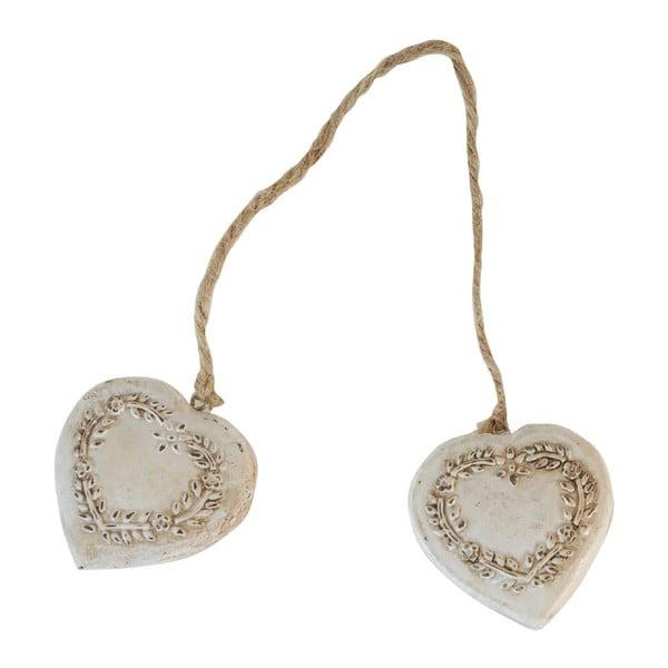 Double Heart szívalakú fa dekoráció - Antic Line
