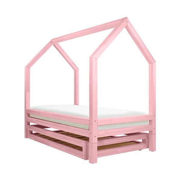 Funny rózsaszín lakkozott lucfenyő gyerekágy, 80 x 160 cm - Benlemi