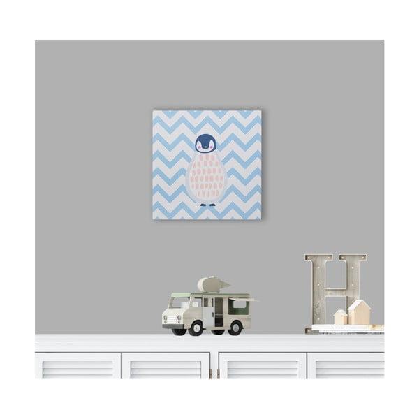 Blue pingvin mintás fa fali kép, 40 x 40 cm - KICOTI