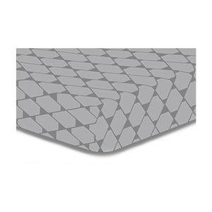 Šedé elastické prostěradlo z mikrovlákna DecoKing Rhombuses, 200x220cm