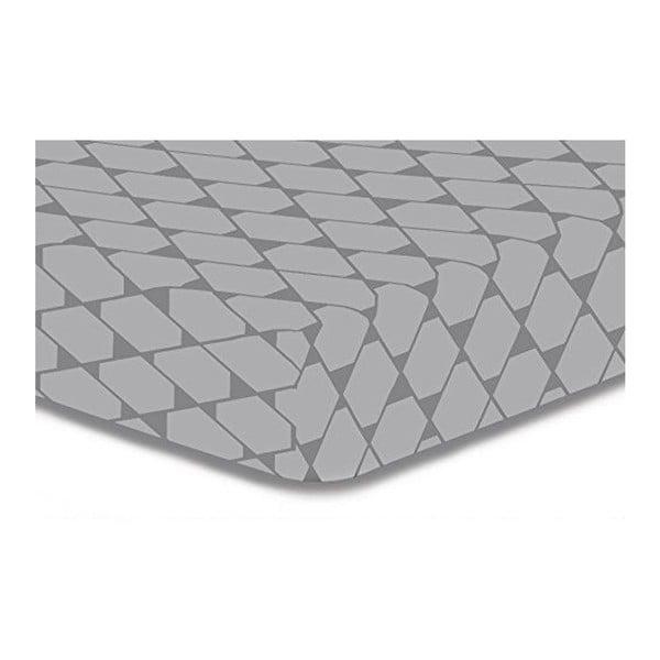 Rhombuses szürke mikroszálas gumis lepedő, 200 x 220 cm - DecoKing