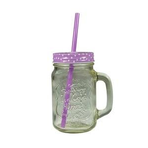 Straw pohár lila fedéllel és szívószállal, 430 ml - JOCCA