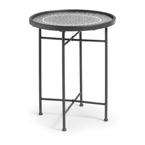 Adri fekete fém tárolóasztal, ⌀ 45 cm - La Forma