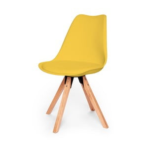 Žlutá židle s podnožím z bukového dřeva loomi.design Eco