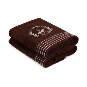 Sada dvou hnědých ručníků s šedým detailem Beverly Hills Polo Club Horses, 90x50cm